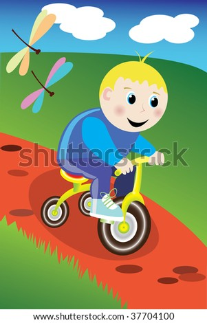 Little boy on the bike in the park - stock vector
