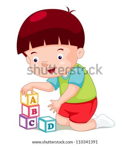 Little boy playing blocks - stock vector