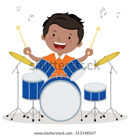 little boy playing drum vector illustration stock vector 313148507 rh shutterstock com playing drums clipart playing drums clipart