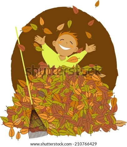 Little boy playing in a pile of fallen leaves, a rake laying near him - stock vector