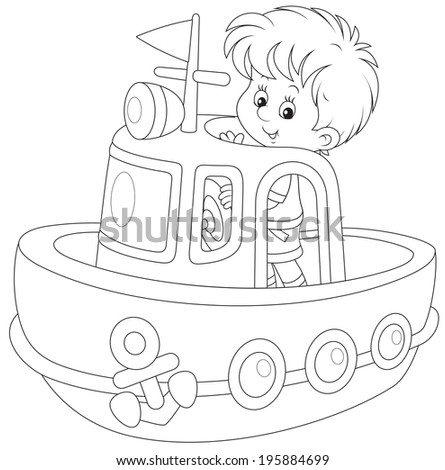 Little boy playing on a big toy ship - stock vector
