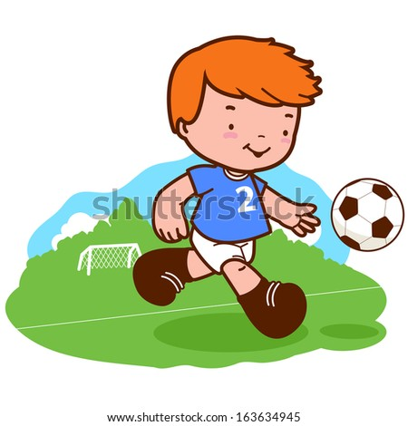 Little boy playing soccer. A happy child plays football.  - stock vector