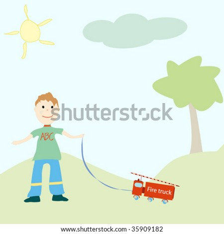 Little boy playing with his toy - stock vector