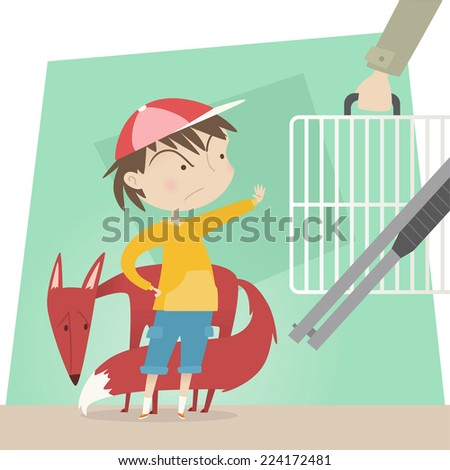 Little boy protecting wild life from hunters vector cartoon illustration - stock vector