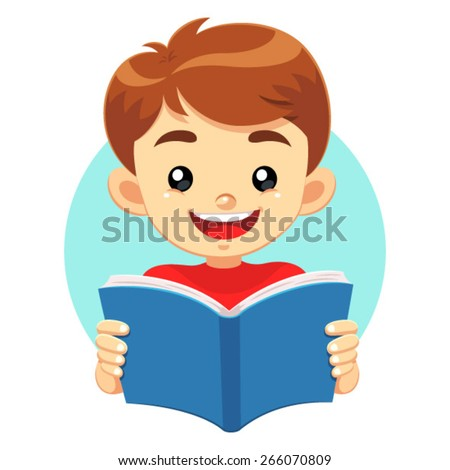 Little Boy Reading A Blue Book. A little cute boy reading a blue book with happy face. He like to read and study educational books. - stock vector