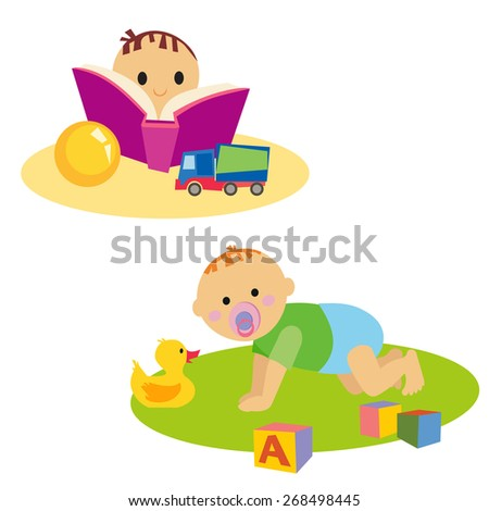 Little boy reading book. Baby with toy. Isolated on white background - stock vector