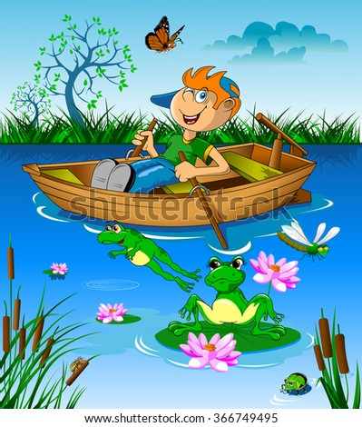 Little boy riding a boat on the river, vector - stock vector
