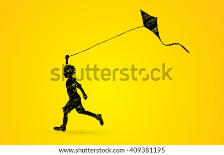 Little boy running with kite designed using grunge brush graphic vector.