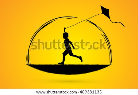 Little boy running with kite graphic vector. - stock vector