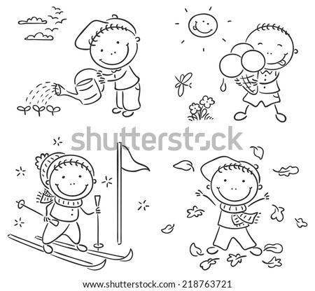 Little boy's activities during the four seasons - stock vector