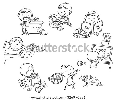 Little boy's daily activities, black and white outline - stock vector