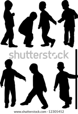 little boy silhouette isolated on white - stock vector