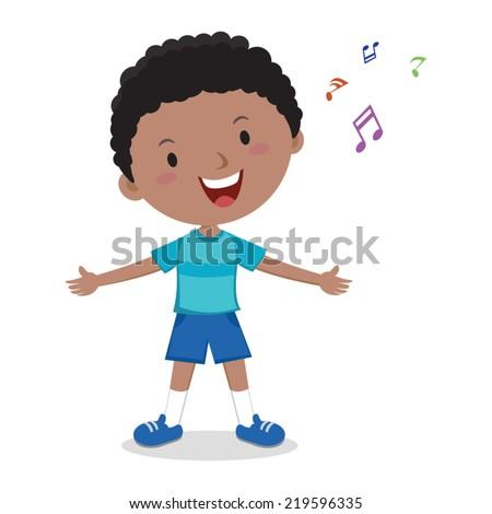Little boy singing. Cheerful boy singing happily. - stock vector