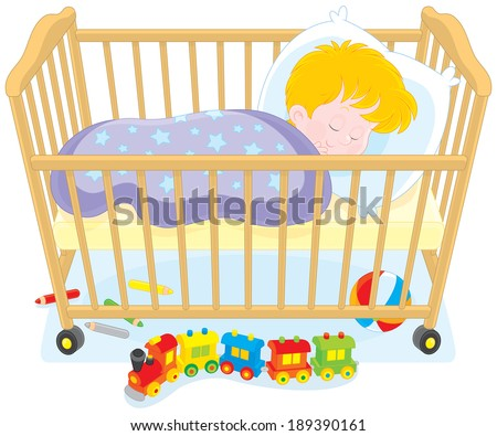 Little boy sleeping in his bed - stock vector