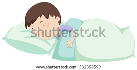 Little boy sleeping under blanket illustration - stock vector