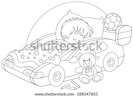 Little boy sleeps in his bed made as a sport car - stock vector