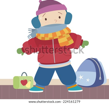 Little boy sweating under his winter clothes. With Winter clothes Vector illustration cartoon. Ready for school.  - stock vector