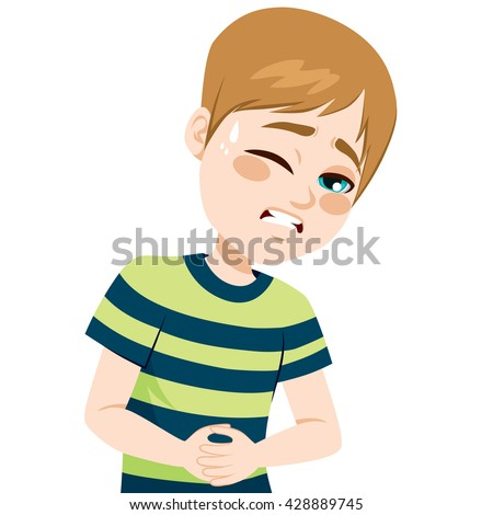 Little boy touching his belly suffering stomachache pain - stock vector