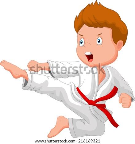 Little boy training karate - stock vector