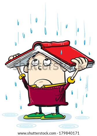 Little boy use book like protection of rain. - stock vector