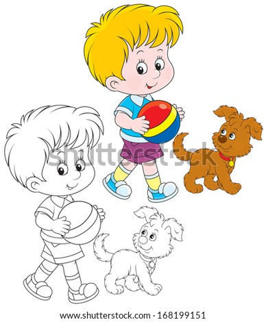 Little boy walking with his pup - stock vector