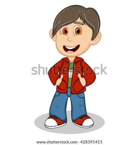 Little boy wearing a red jacket and blue trousers style cartoon vector illustration