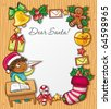 Little boy, wearing Santa hat, writing a letter to Santa Claus . Lots of Christmas ornaments and decorations - stock vector