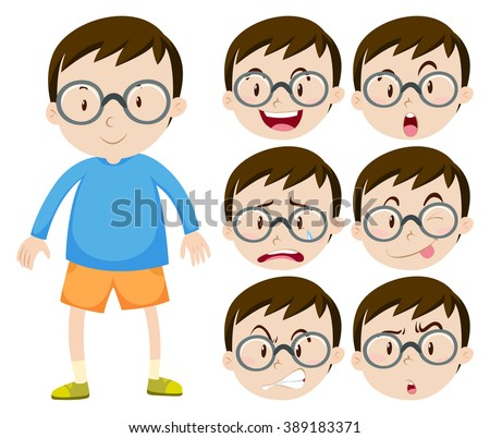Little boy with glasses and many facial expressions illustration - stock vector