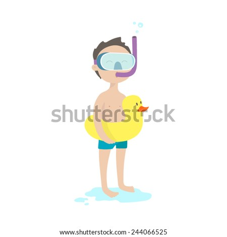 Little boy with inflatable duck and snorkelling for swimming - stock vector