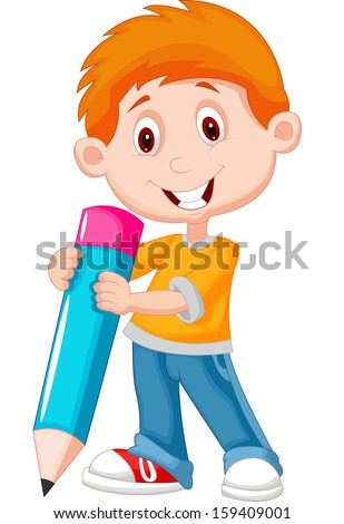 Little boy with pencil - stock vector