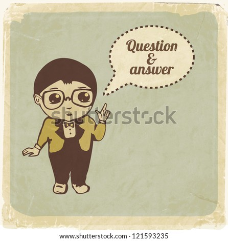 Little boy with speech bubble. Retro style vector illustration - stock vector