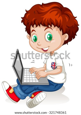 Little boy working on laptop computer illustration - stock vector