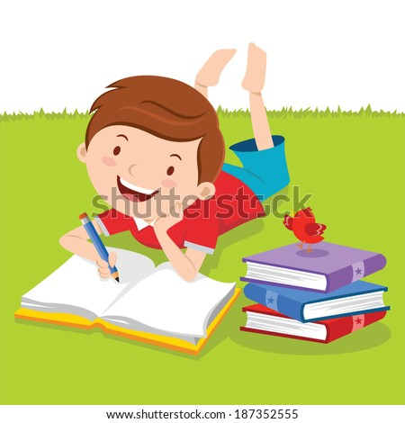 Little boy writing with books. Creative Writing. Vector illustration of a lovely boy writing outdoors. - stock vector