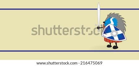 Little brave scottish hedgehog in kilt holding shield and sword vector illustration/Little brave scottish hedgehog - stock vector