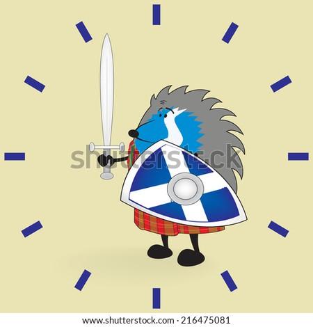 Little brave scottish hedgehog in kilt holding shield and sword vector illustration/Little brave scottish hedgehog clock pattern - stock vector