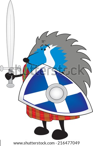 Little brave scottish hedgehog in kilt holding shield and sword vector illustration/Little brave scottish hedgehog isolated on white background - stock vector