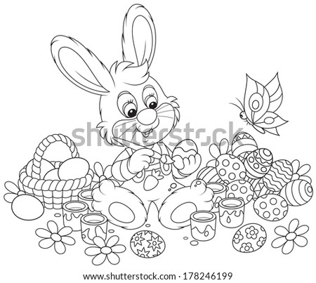 Little Bunny paints Easter eggs - stock vector
