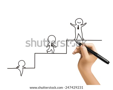 little businessman climbing up stairs drawn by 3d hand over white  - stock vector