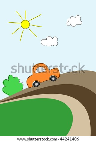 Little car on road, vector background for kids - stock vector