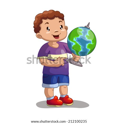 Little cartoon boy with globe, vector illustration on the white background - stock vector