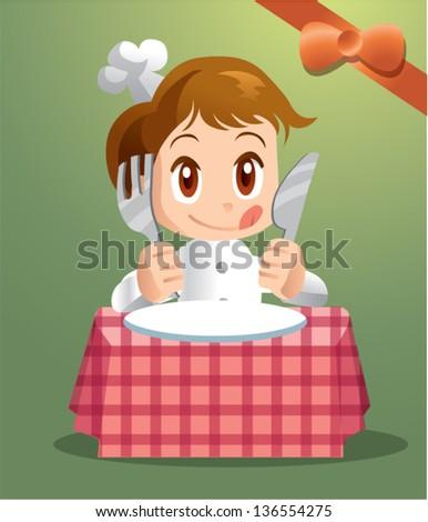 little cartoon chef - stock vector