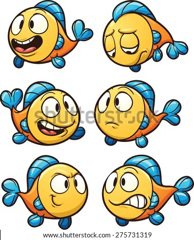 Little cartoon fish. Vector clip art illustration with simple gradients. Each on a separate layer. - stock vector
