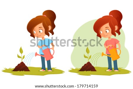 little cartoon girl watering a plant - green concept illustration for kids - stock vector