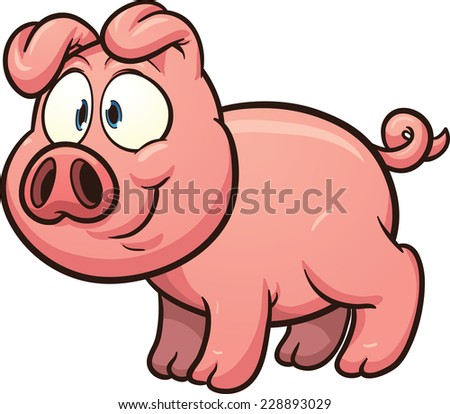 Little cartoon pig. Vector clip art illustration with simple gradients. All in a single layer.  - stock vector