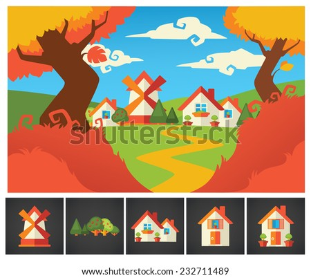 little cartoon village background and homes icons collection - stock vector