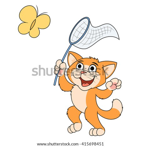 Little cat is catching butterfly 2 - stock vector