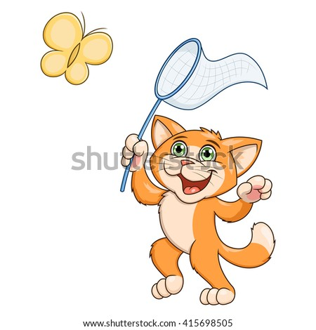 Little cat is catching butterfly - stock vector