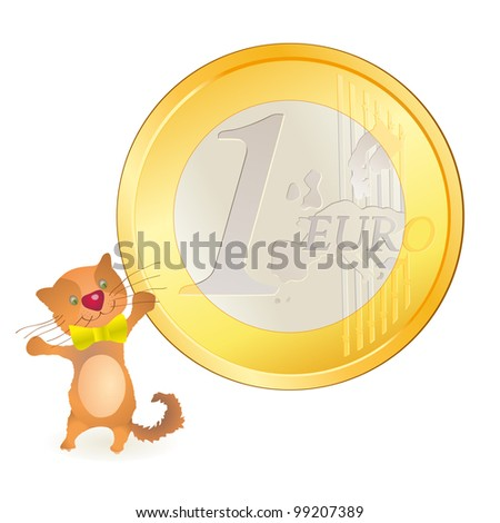 Little cat looking at a big Euro coin - stock vector