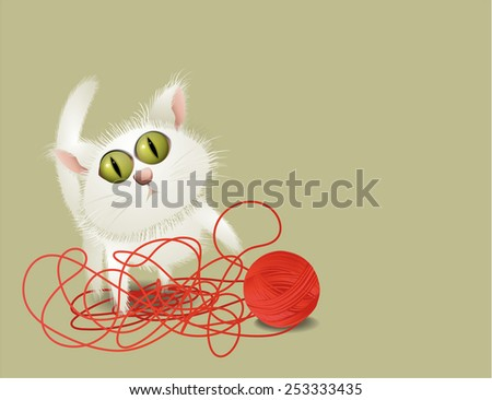 Little cat playing with ball of wool - stock vector