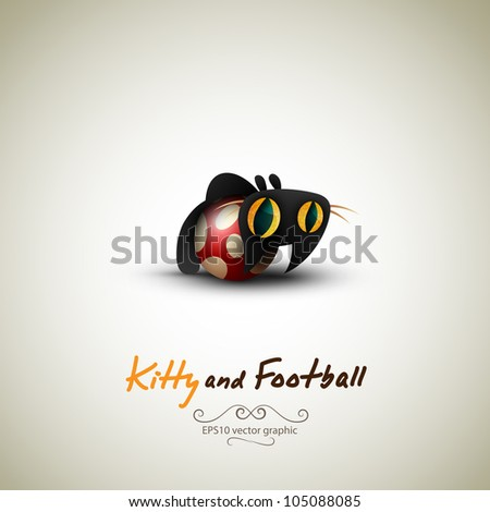 Little Cat playing with Football   Great Greeting for Pet Owners   Layered EPS10 Vector Background - stock vector